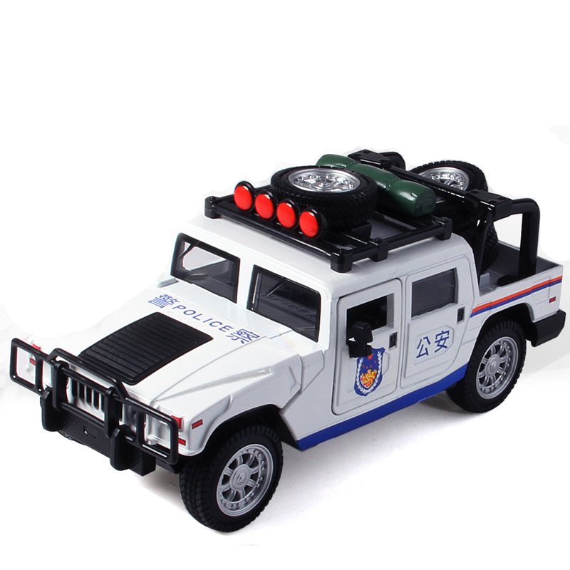 Alloy Hummer Police Car Model Simulation Off-Road Pull Back Car Toy
